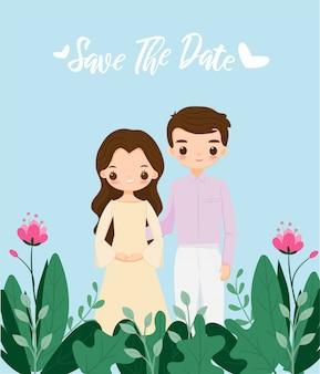 Милая пара на шаблоне приглашения на свадьбу цветок