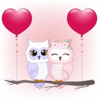 Милая пара сова и сердечные шары