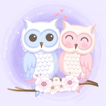 Cute couple owl hand drawn watercolor illustration