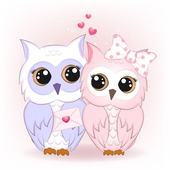Cute couple owl and letter valentine's day concept