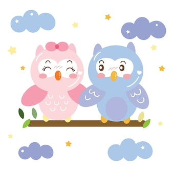 Cute couple owl on sky cartoon
