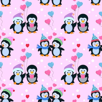 Cute couple penguin in love seamless pattern.