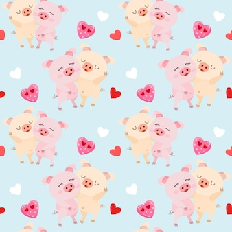 Cute couple pigs with heart shape seamless pattern.