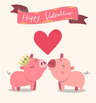Cute couple pink pigs kissing