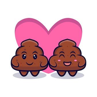 귀여운 커플 똥 사랑 만화에 빠지다