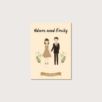 Cute couple portrait illustration save the date template
