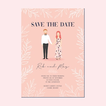 かわいいカップルの肖像画イラスト結婚式の招待状のテンプレート、白い花の背景を持つ日付テンプレートカードを保存
