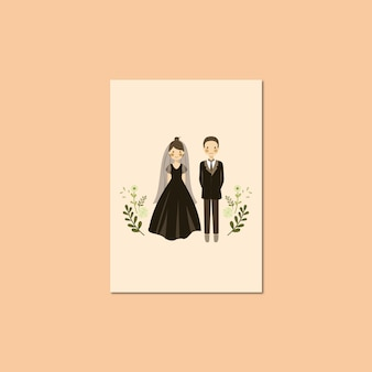 Cute couple portrait illustration