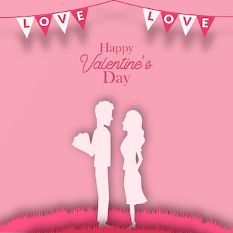 Милая пара предлагает силуэт вырезать из бумаги романтический стиль для поздравительной открытки на день святого валентина
