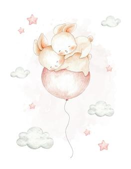 風船で飛んでいるかわいいカップルのウサギ水彩イラスト