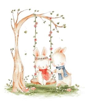 かわいいカップルのウサギがブランコの水彩イラストを再生します。