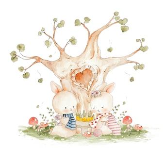 木の下に座っているかわいいカップルのウサギ水彩イラスト