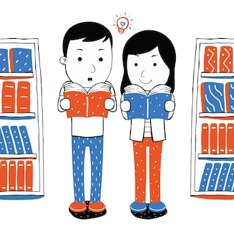 Cute couple reading book  in cartoon style
