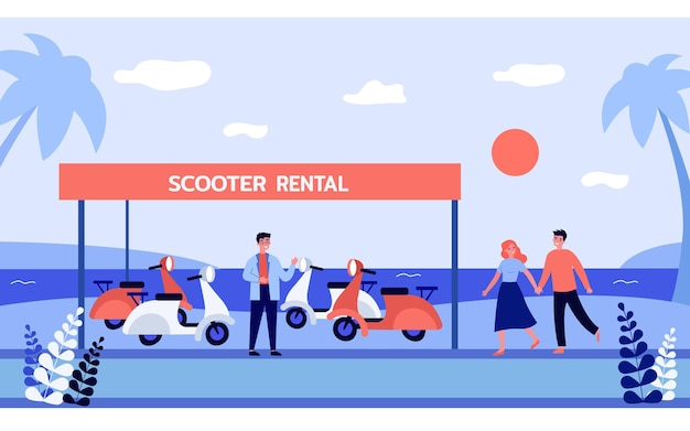 Cute couple renting scooter on beach. salesman in front of scooter rental banner at seaside, man and woman holding hands flat vector illustration. rental service, traveling concept for website design