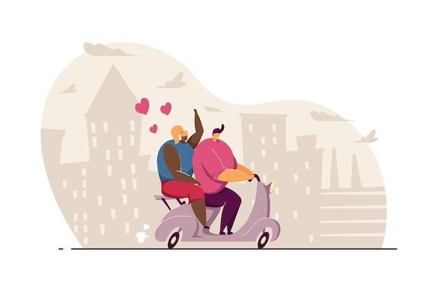 スクーターに乗ってかわいいカップル。原付、都市フラットベクトルイラストのシルエットでデートに行く彼氏とガールフレンド。バナー、ウェブサイトのデザインまたはランディングページの愛、関係、恋愛の概念