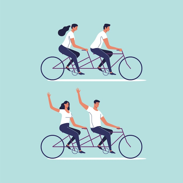 Cute couple riding on tandem