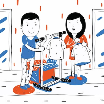 Cute couple selling clothes in cartoon style