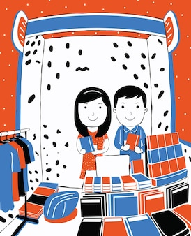Cute couple selling crafts in cartoon style