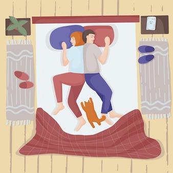 Милая пара спит в постели