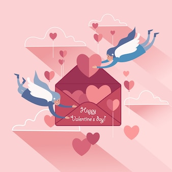 Cute couple soaring white-winged angels with valentines