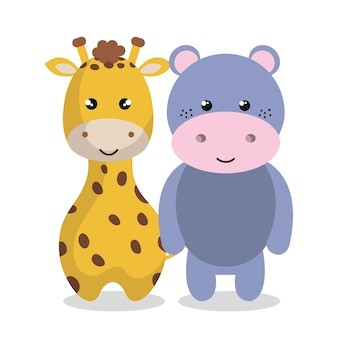 かわいいカップル動物のベクトルイラストデザイン