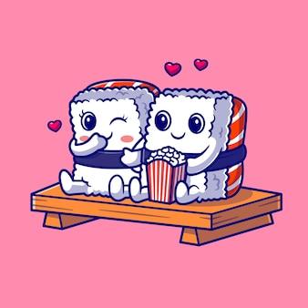 かわいいカップルの寿司を食べるポップコーン漫画ベクトルアイコンイラスト。食品オブジェクトアイコンの概念分離プレミアムベクトル。フラット漫画スタイル