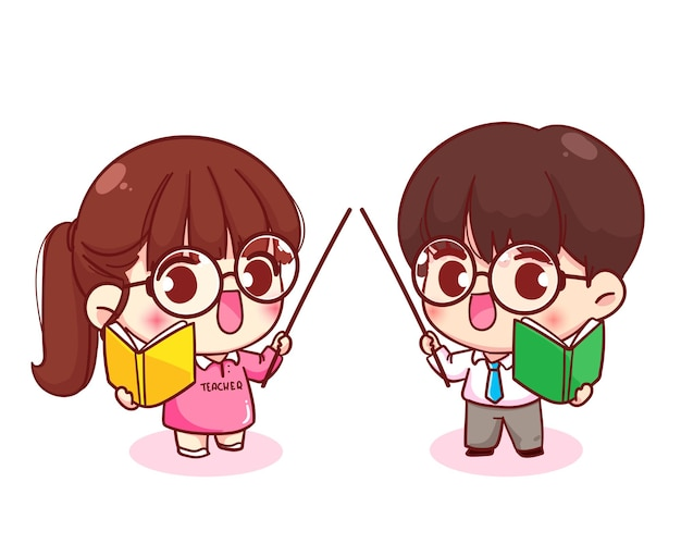 Cute couple teacher cartoon character illustration