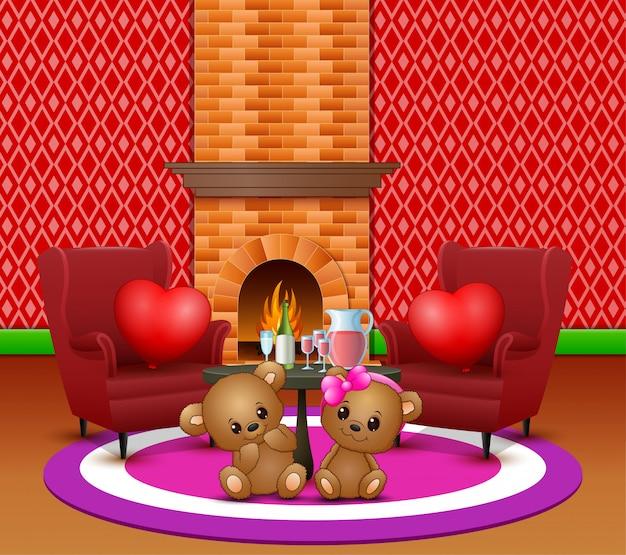 낭만적 인 거실에서 귀여운 커플 테디 베어