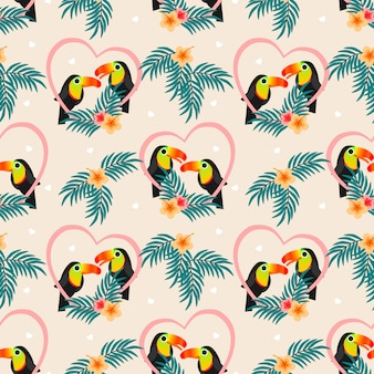 Cute couple toucan seamless pattern.
