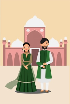 Cute couple in traditional dress with famous pakistand masjid buiding vector