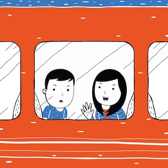 Cute couple traveling by train in cartoon style