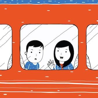 만화 스타일로 기차로 여행하는 귀여운 커플