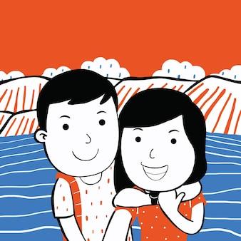 만화 스타일로 여행하는 귀여운 커플