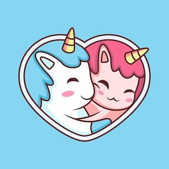 귀여운 커플 유니콘 만화. 파란색 배경에 고립 된 동물 아이콘 그림