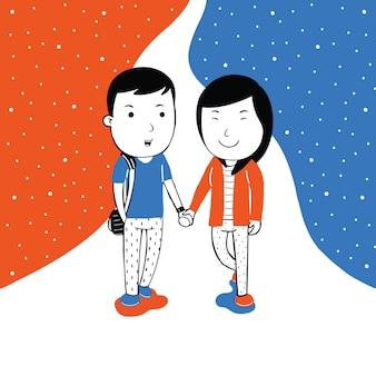 Cute couple walking in cartoon style