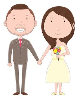 만화 스타일의 귀여운 커플 웨딩 캐릭터