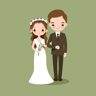Cute couple in wedding dress cartoon character