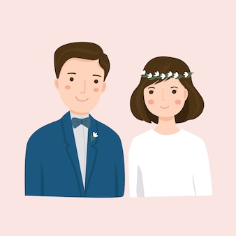 Cute couple in wedding dress illustration