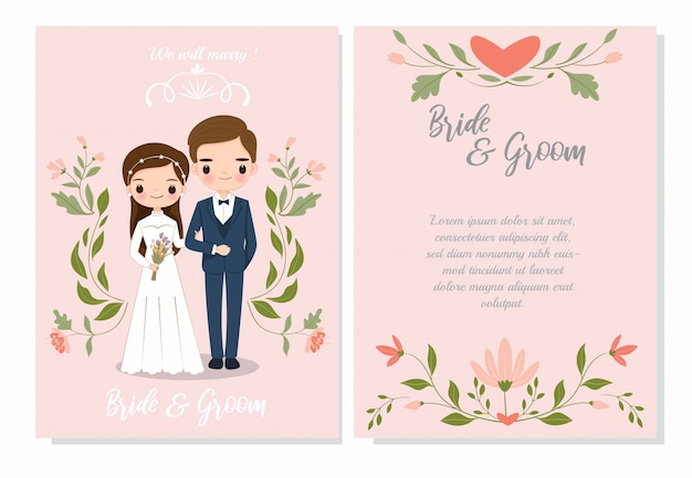 Cute couple on wedding invitation card template