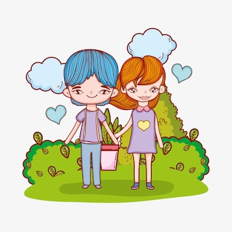 Cute couple with clouds and hearts in the bushes