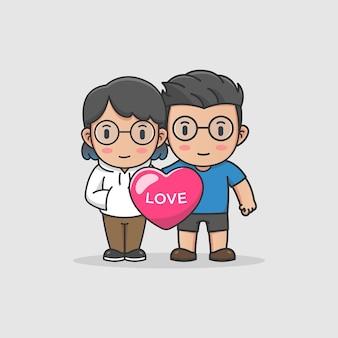 愛の風船とかわいいカップル