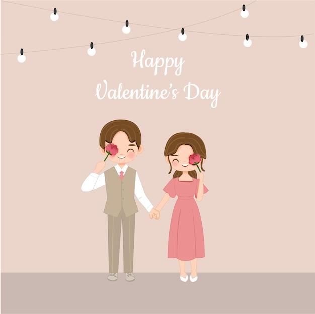 Милая пара с мультяшным цветком красной розы на день святого валентина