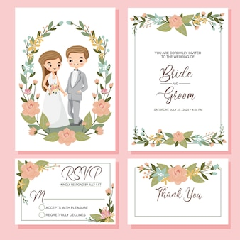 Cute couple with wedding invite set