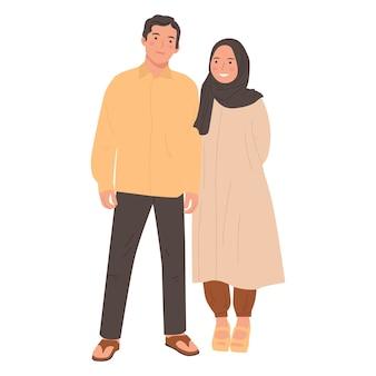 귀여운 커플 젊은 남자와 여자 만화