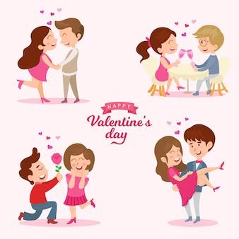 恋にかわいいカップルロマンチックな聖バレンタインデーの日付