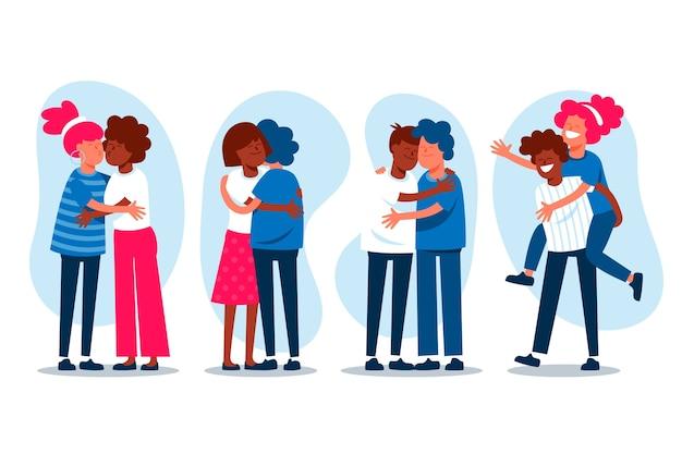 Милые пары целуются и обнимаются