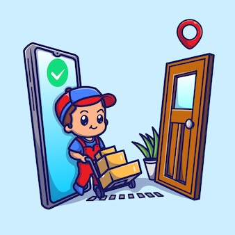 Illustrazione sveglia dell'icona di vettore del fumetto del pacchetto di consegna del corriere. concetto dell'icona di affari della gente isolato vettore premio. stile cartone animato piatto