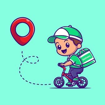 Illustrazione sveglia dell'icona di vettore del fumetto del pacchetto di consegna del corriere. concetto dell'icona del trasporto di persone isolato vettore premium. stile cartone animato piatto