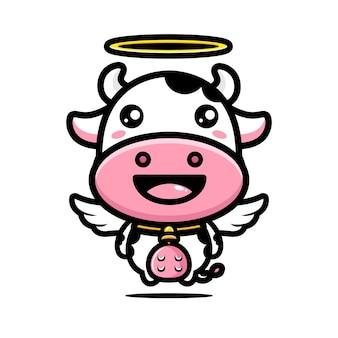 かわいい牛の天使のキャラクターデザイン
