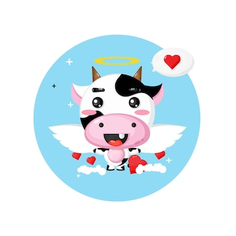Cute cow angel flying in the sky